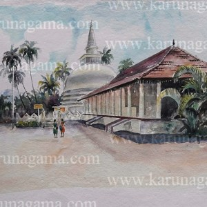 Online, Art, Art Gallery, Online Art Galley, Sri Lanka, Karunagama, Watercolor, Water Colour, Temples In Sri Lanka, Muthiyangana, Sri lanka paintings,