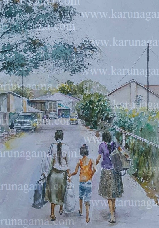 Online, Art, Art Gallery, Online Art Galley, Sri Lanka, Karunagama, Watercolor, Water Colour, Landscape, People, Girls, Girls in Sri Lanka, Landscapes, Paintings of Sri lankan Girls, Landscapes, Sri lankan Landscapes, Sri lanka paintings,