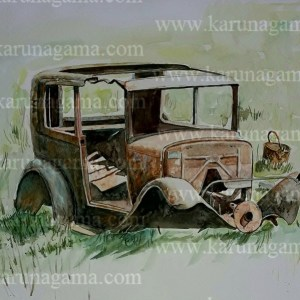 Online, Art, Art Gallery, Online Art Galley, Sri Lanka, Karunagama, Watercolor, Water Colour, Junk Cars, Junk Car Paintings, Sri lanka paintings,