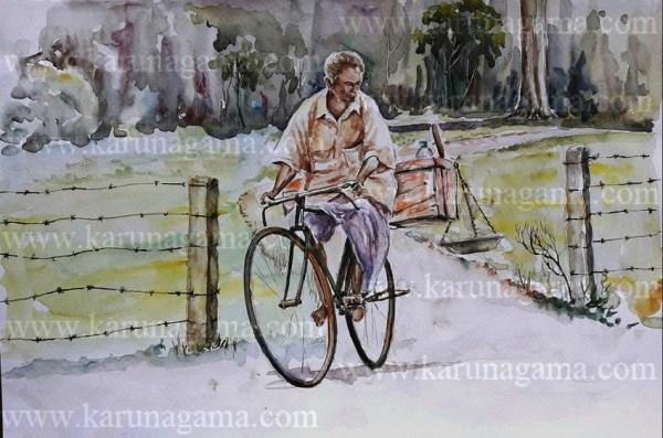 Online, Art, Art Gallery, Online Art Galley, Sri Lanka, Karunagama, Watercolor, Water Colour, People, Fish, Fish Seller, Bike, Fish Sellers, Sri lanka Fish, Fish Seller paintings, Fish trade, Sri lanka paintings,