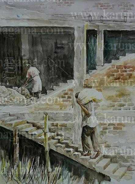 Online, Art, Art Gallery, Online Art Galley, Sri Lanka, Karunagama, Watercolor, Water Colour, , Online Art Gallery, Portrait, Landscape, People, Masons, Building, Sri lanka paintings,