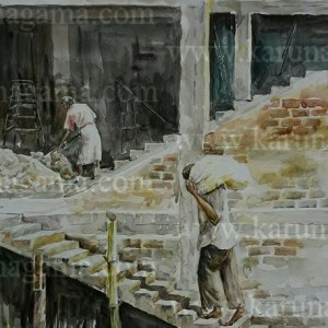 Online, Art, Art Gallery, Online Art Galley, Sri Lanka, Karunagama, Watercolor, Water Colour, , Online Art Gallery, Portrait, Landscape, People, Masons, Building, Sri lanka paintings,