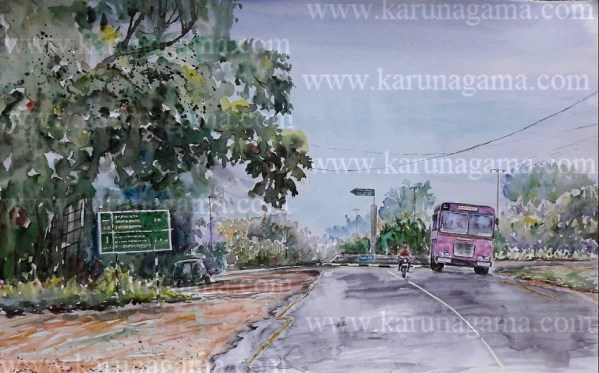 Online, Art, Art Gallery, Online Art Galley, Sri Lanka, Karunagama, Watercolor, Water Colour, Junctions in Sri lanka, Sri lanka Landscape paintings, Road paintings, Water Colors, Paintings, Sri Lanka, Online Arts, Art Gallery, Sarath Karunagama, Online Art Gallery, Portrait, Landscape, Junction, Street, Road, Bus,, Sri lanka paintings,