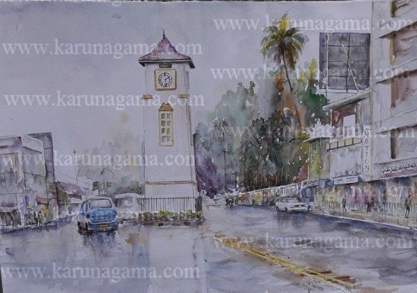Online, Art, Art Gallery, Online Art Galley, Sri Lanka, Karunagama, Watercolor, Water Colour, Baddulla, Badulla city, Badulla City Paintings, Clock tower Paintings, Badulla clock tower Paintings, Townscape paintings, Townscape,, Sri lanka paintings,