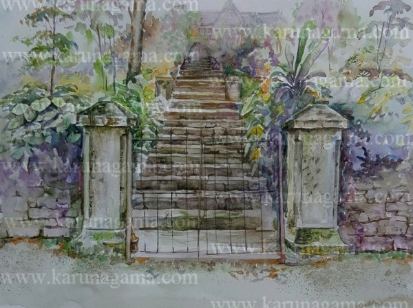 Online, Art, Art Gallery, Online Art Galley, Sri Lanka, Karunagama, Watercolor, Water Colour, Gate paintings, Gates, Sri lanka paintings,