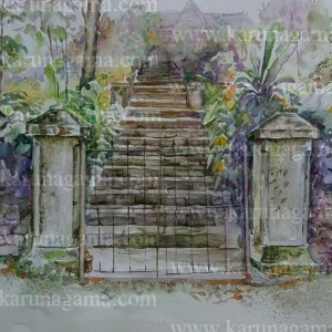 Online, Art, Art Gallery, Online Art Galley, Sri Lanka, Karunagama, Watercolor, Water Colour, Gate paintings, Gates, Sri lanka paintings,