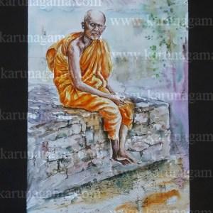 Online, Art, Art Gallery, Online Art Galley, Sri Lanka, Karunagama, Watercolor, Water Colour, Old Monk, Sri lanka Monk, Buddhist monk, Monk Paintings, People, Sri lanka People, Sri lanka paintings,