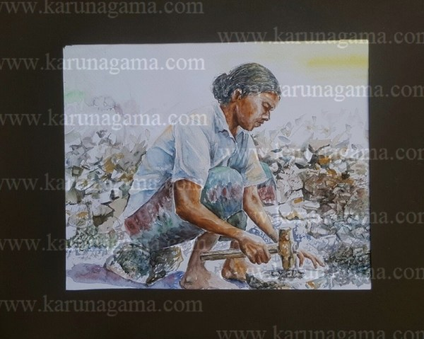Online, Art, Art Gallery, Online Art Galley, Sri Lanka, Karunagama, Watercolor, Water Colour, Metal crushing, Metal, Peopole, People painting, Sri lanka paintings,