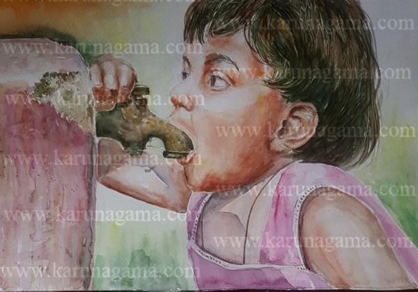 Online, Art, Art Gallery, Online Art Galley, Sri Lanka, Karunagama, Watercolor, Water Colour, Thirsty girl. Sri lankan Girls, Girls paintings, People, Sri lanka paintings,
