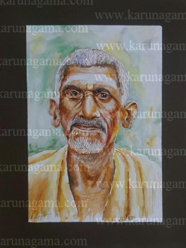 Online, Art, Art Gallery, Online Art Galley, Sri Lanka, Karunagama, Watercolor, Water Colour, Sarath Karunagama, Devotee, Brahimn, Portrait of Indian Devotee, Old Indians, Sri lanka paintings,