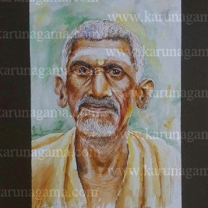 Online, Art, Art Gallery, Online Art Galley, Sri Lanka, Karunagama, Watercolor, Water Colour, Sarath Karunagama, Devotee, Brahimn, Portrait of Indian Devotee, Old Indians, Sri lanka paintings,