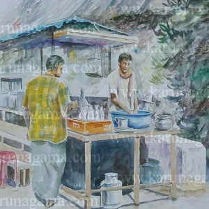 Online, Art, Art Gallery, Online Art Galley, Sri Lanka, Karunagama, Watercolor, Water Colour, Sarath Karunagama, People paintings, Hotels, Sri Lankan Hotels, Roadside Hotels, Hotel Paintings, Paintings, Sri lanka paintings