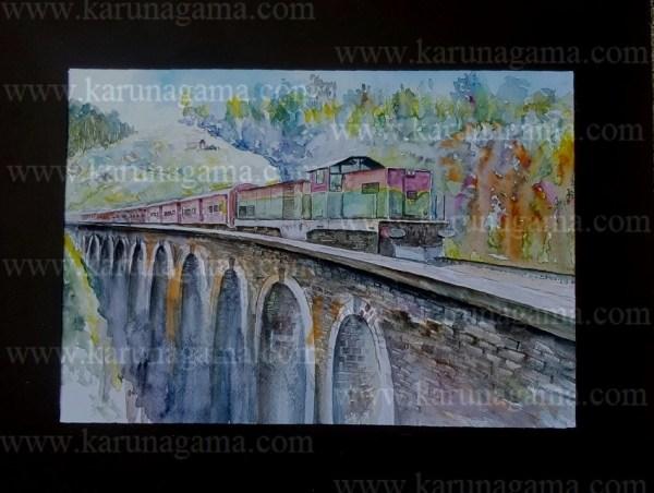Online, Art, Art Gallery, Online Art Galley, Sri Lanka, Karunagama, Watercolor, Water Colour, Sarath Karunagama, Nine Arch Bridge, Sri Lankan Bridges, Sri Lanka Railways, Sri lanka paintings