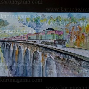 Online, Art, Art Gallery, Online Art Galley, Sri Lanka, Karunagama, Watercolor, Water Colour, Sarath Karunagama, Nine Arch Bridge, Sri Lankan Bridges, Sri Lanka Railways, Sri lanka paintings