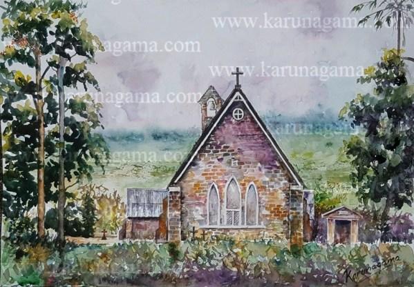 Online, Art, Art Gallery, Online Art Galley, Sri Lanka, Karunagama, Watercolor, Water Colour, Sarath Karunagama, Dikoya, Chatholic Churches, Sri Lankan Church, Church Paintings, Sri lanka paintings,
