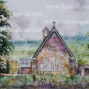 Online, Art, Art Gallery, Online Art Galley, Sri Lanka, Karunagama, Watercolor, Water Colour, Sarath Karunagama, Dikoya, Chatholic Churches, Sri Lankan Church, Church Paintings, Sri lanka paintings,