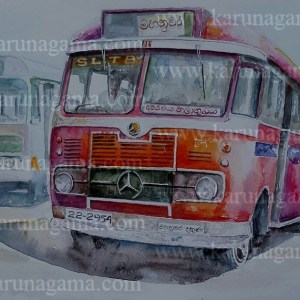 Online, Art, Art Gallery, Online Art Galley, Sri Lanka, Karunagama, Watercolor, Water Colour, Busses, Classic Busses, Sri lanka busses, Srilanka Busses paintings, Vehicles, Old Vehicles, Sri lanka paintings,
