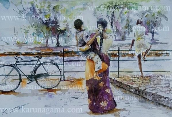 Online, Art, Art Gallery, Online Art Galley, Sri Lanka, Karunagama, Watercolor, Water Colour, Sri lankan Tamils, Tamils, Tamil family, paintings of Tamils, Paintings of Sri lankan Tamils. People, Tamil family, Tamils, Family, Family paintings, Sri lanka paintings,