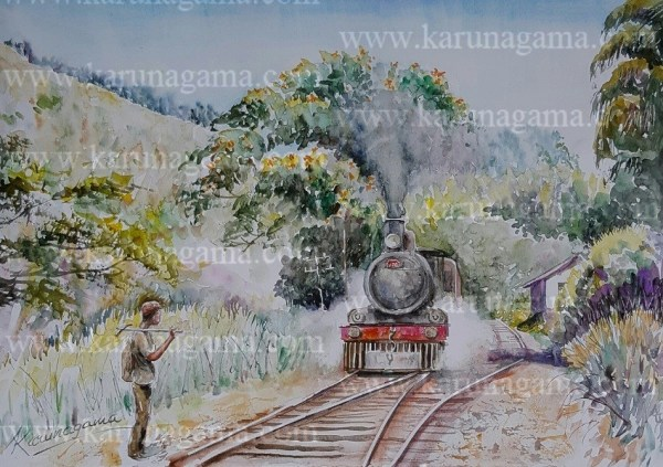 Online, Art, Art Gallery, Online Art Galley, Sri Lanka, Karunagama, Watercolor, Water Colour, Workers, Railway workers, Sri lanka Railway workers, Railways, Railway paintings, Sri lanka paintings,