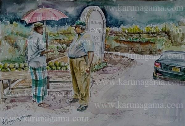 Online, Art, Art Gallery, Online Art Galley, Sri Lanka, Karunagama, Watercolor, Water Colour, Avacado, Avacado Seller, Avacado Buying, Sri lanka Avacado, People painting, Sri lanka People, Sri lanka paintings,