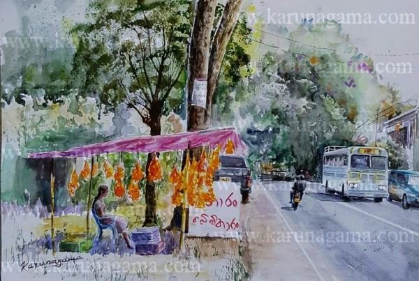 Online, Art, Art Gallery, Online Art Galley, Sri Lanka, Karunagama, Watercolor, Water Colour, Mandarin, Orange, Sri lanka fruits. Sri lanka Oranges, paintings of Orange, Sri lanka paintings,