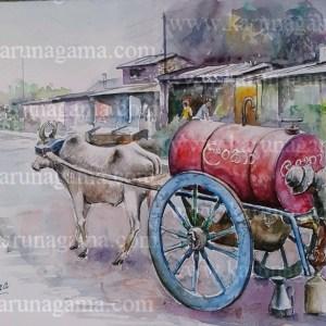 Online, Art, Art Gallery, Online Art Galley, Sri Lanka, Karunagama, Watercolor, Water Colour, Kerosene cart, Petroleum, Vehicles, Kerosine vendor, Sri lanka paintings,