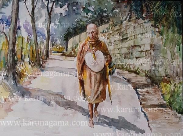 Online, Art, Art Gallery, Online Art Galley, Sri Lanka, Karunagama, Watercolor, Water Colour, Wales park, Park paintings, Buddhist monks, Kandy paintings, Sri lanka gardens, Gardens paintings, Sri lanka landscapes.