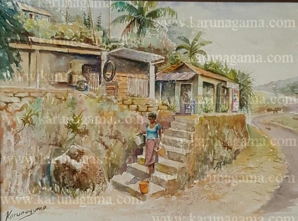 Online, Art, Art Gallery, Online Art Galley, Sri Lanka, Karunagama, Watercolor, Water Colour, Garages, Shops, Sri lanka people,