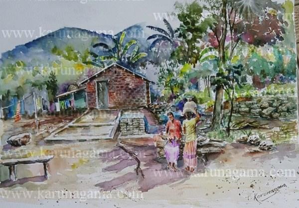 Online, Art, Art Gallery, Online Art Galley, Sri Lanka, Karunagama, Watercolor, Water Colour, Nugethenna, Villages, Sri lanka villages, Landscapes, Sri lanka landscapes, Srilanka watercolor landscapes, Hunnasgiriya,
