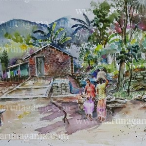 Online, Art, Art Gallery, Online Art Galley, Sri Lanka, Karunagama, Watercolor, Water Colour, Nugethenna, Villages, Sri lanka villages, Landscapes, Sri lanka landscapes, Srilanka watercolor landscapes, Hunnasgiriya,