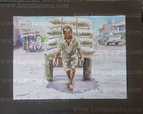 Online, Art, Art Gallery, Online Art Galley, Sri Lanka, Karunagama, Watercolor, Water Colour, Pettah, Colombo workers, Workers paintings, Sri lankan workers, Carts, Carts in transportation, Transportation,