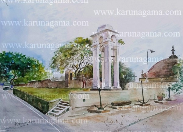 Online, Art, Art Gallery, Online Art Galley, Sri Lanka, Karunagama, Watercolor, Water Colour, Bell tower, Galle fort, Dutch fort, Galle attractions, Galle landscapes, Galle paintings,