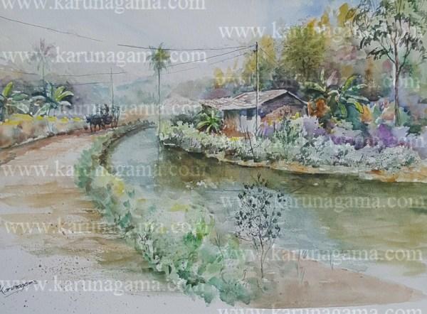 Online, Art, Art Gallery, Online Art Galley, Sri Lanka, Karunagama, Watercolor, Water Color, Roads in Sri lanka, Canals in Sri lanka, Dry zone, Sri lanka dry zone, Canal paintings, landscape paintings,