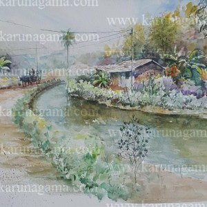 Online, Art, Art Gallery, Online Art Galley, Sri Lanka, Karunagama, Watercolor, Water Color, Roads in Sri lanka, Canals in Sri lanka, Dry zone, Sri lanka dry zone, Canal paintings, landscape paintings,