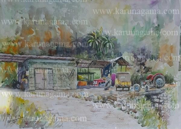 Online, Art, Art Gallery, Online Art Galley, Sri Lanka, Karunagama, Watercolor, Water Color, Garages, Garages in Sri lanka, Rural paintings, landscape painatings,