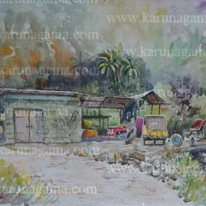 Online, Art, Art Gallery, Online Art Galley, Sri Lanka, Karunagama, Watercolor, Water Color, Garages, Garages in Sri lanka, Rural paintings, landscape painatings,