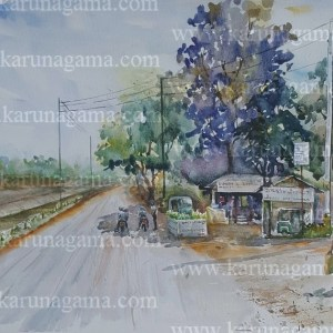 Online, Art, Art Gallery, Online Art Galley, Sri Lanka, Karunagama, Watercolor, Water Color, Shadows, Rest, Rural paintings, landscape painatings,