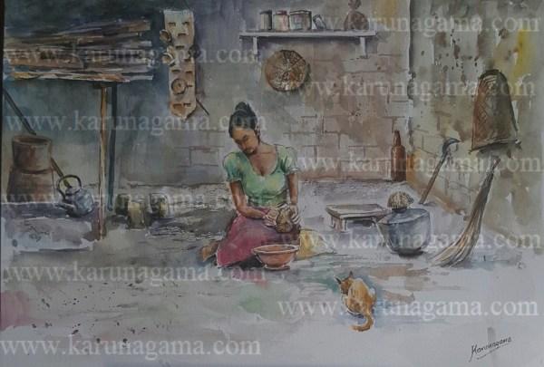 Online, Art, Art Gallery, Online Art Galley, Sri Lanka, Karunagama, Watercolor, Water Colour, Sri lankan kitchen, Sri lanka people, Old kitchen,