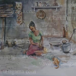 Online, Art, Art Gallery, Online Art Galley, Sri Lanka, Karunagama, Watercolor, Water Colour, Sri lankan kitchen, Sri lanka people, Old kitchen,