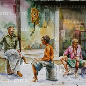 Art, Art Gallery, Karunagama, Morning Chat, Online, Online Art Galley, Sri Lanka, Sri lanka People, Sri lanka villagers., Water Colour, Watercolor