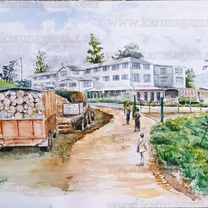 Art, Art Gallery, firewood, Karunagama, Online, Online Art Galley, Sri Lanka, Sri Lanka Tea, Tea Factories, Tea industry, Tea plantations, Trucks, Water Color, Watercolor