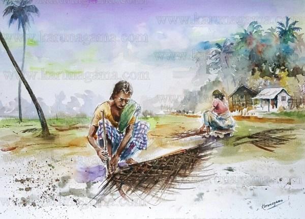 Art, Art Gallery, Cadjan, Coconut leaves, Dried coconut leaves, Karunagama, Online, Online Art Galley, Palm leave roofing, Roofing, Sri Lanka, Water Colour, Watercolor, Weaving leaves