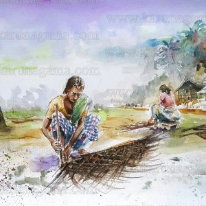 Art, Art Gallery, Cadjan, Coconut leaves, Dried coconut leaves, Karunagama, Online, Online Art Galley, Palm leave roofing, Roofing, Sri Lanka, Water Colour, Watercolor, Weaving leaves