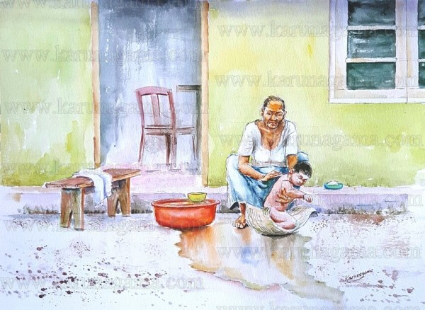 Online, Art, Art Gallery, Online Art Galley, Sri Lanka, Karunagama, Watercolor, Water Colour, Grand parents, Grand children, Bathing, Bathing babies,