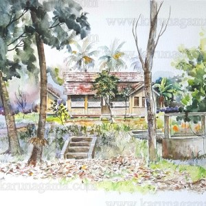 Online, Art, Art Gallery, Online Art Galley, Sri Lanka, Karunagama, Watercolor, Water Colour, Sri lankan villa, Old villa, Sri lankan landscapes, Old houses, Paintings of Old Houses,