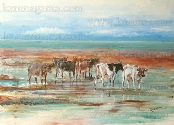Art, Art Gallery, Ceylon, Marshy land, Cattle in Sri lanka, Cattle, Karunagama, Landscapes, Landscapes in Sri lanka, Old Sri lanka, Online, Online Art Gallery, Sri Lanka, Water Colour, Watercolor
