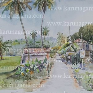 Online, Art, Art Gallery, Online Art Galley, Sri Lanka, Karunagama, Watercolor, Water Colour, Village, Village scenery, Galapitamada, Sabaragamuwa, Paddy field,,