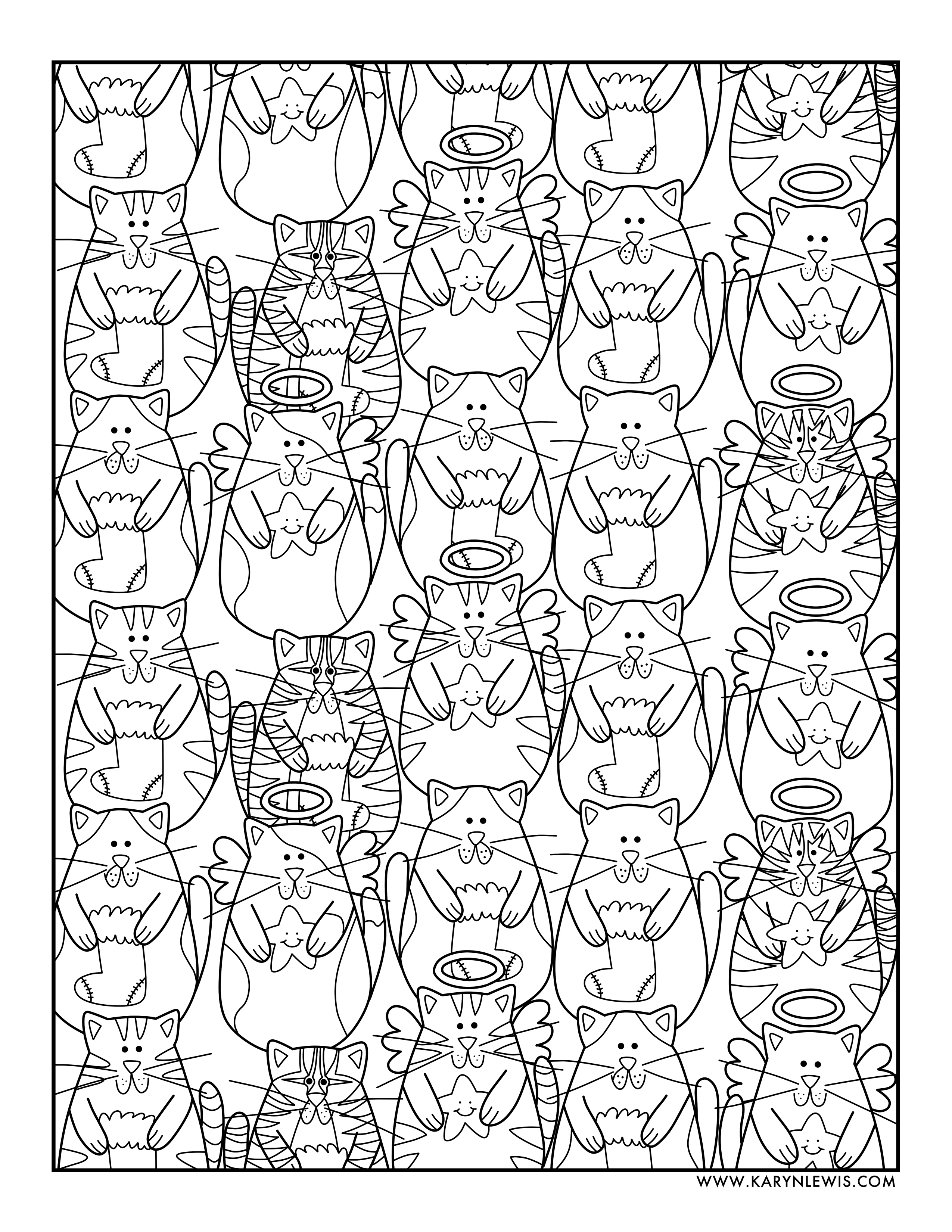 Christmas Cats Free Adult Coloring Page Karyn Lewis Illustration