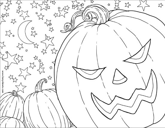 free pumpkin patch halloween coloring page  karyn lewis