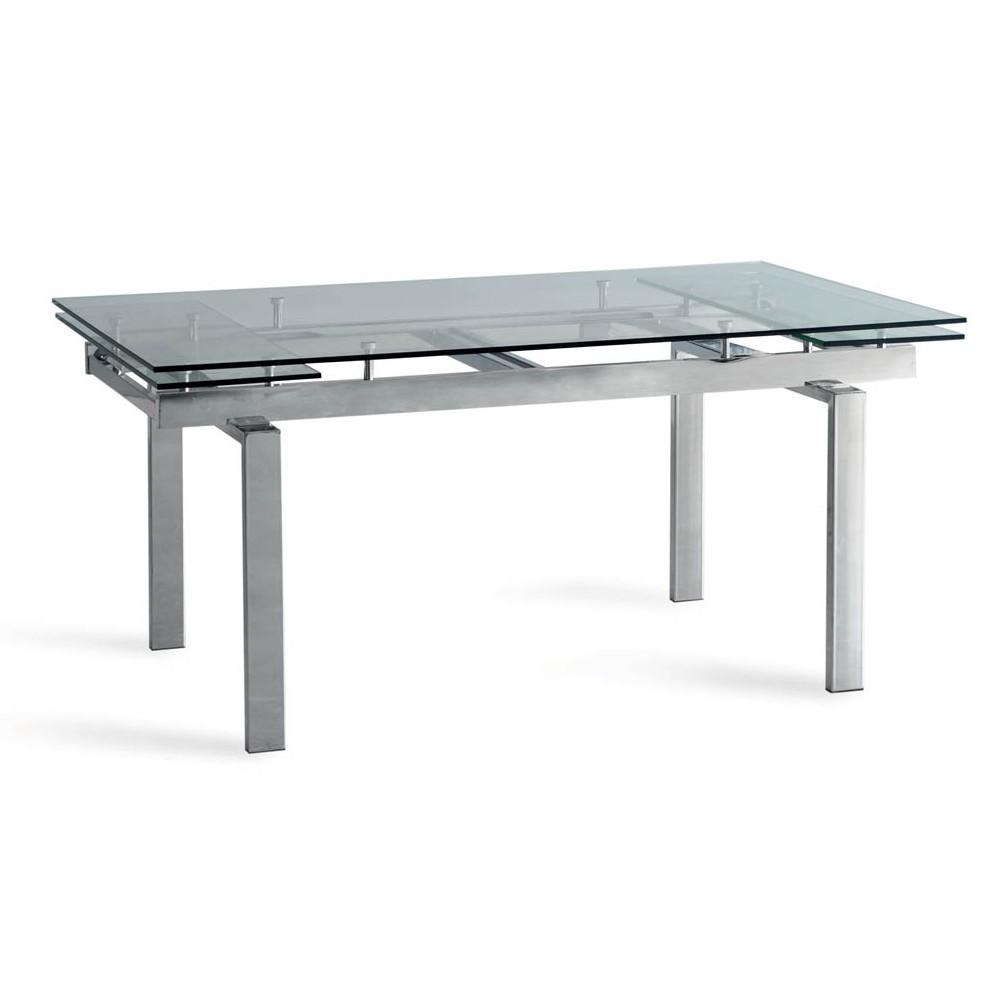 table extensible apple avec base chromee et plateau en verre trempe